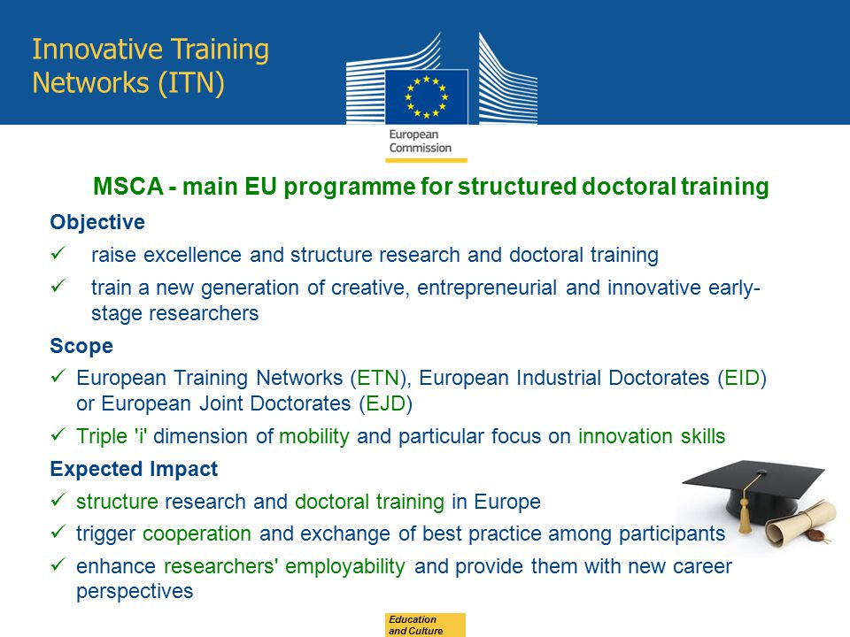 MSCA - main EU programme for structured doctoral training