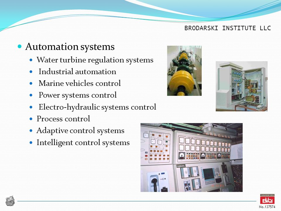 Automation systems Water turbine regulation systems