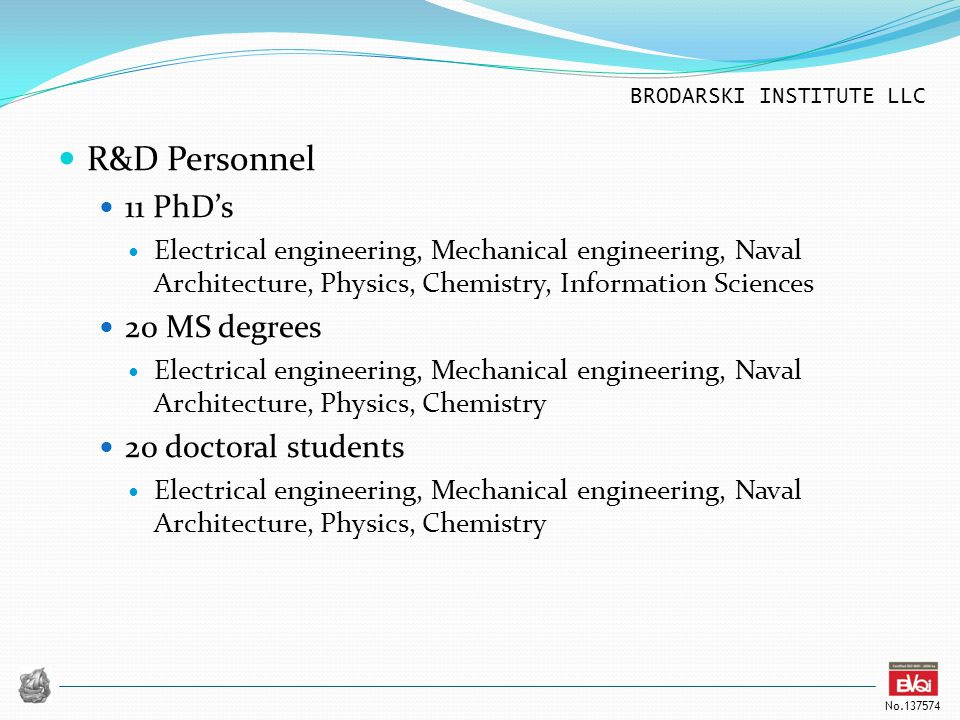 R&D Personnel 11 PhD's 20 MS degrees 20 doctoral students