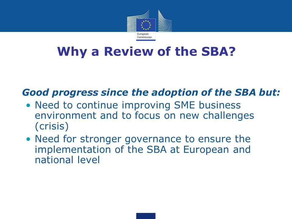 Why a Review of the SBA Good progress since the adoption of the SBA but:
