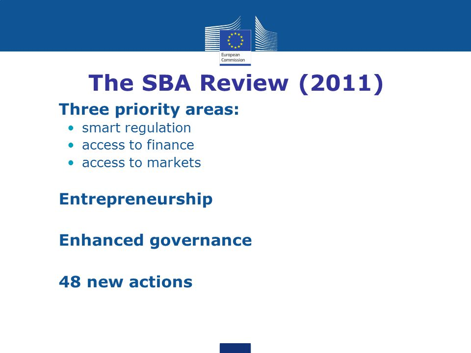 The SBA Review (2011) Three priority areas: Entrepreneurship