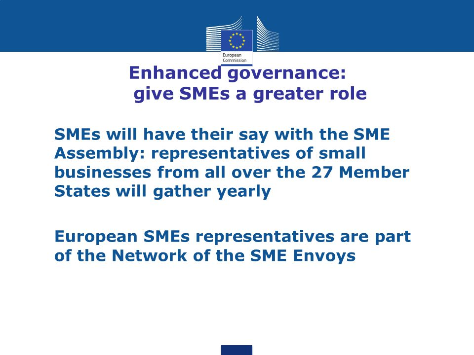 Enhanced governance: give SMEs a greater role