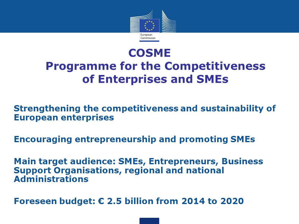 COSME Programme for the Competitiveness of Enterprises and SMEs