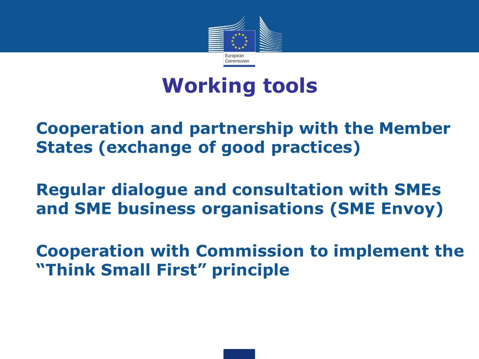 Working tools Cooperation and partnership with the Member States (exchange of good practices)