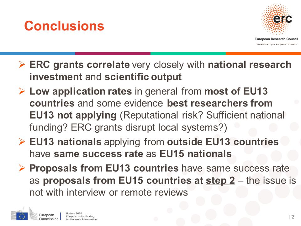 Conclusions ERC grants correlate very closely with national research investment and scientific output.