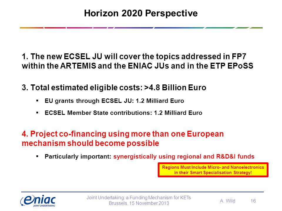Horizon 2020 Perspective 1. The new ECSEL JU will cover the topics addressed in FP7 within the ARTEMIS and the ENIAC JUs and in the ETP EPoSS.