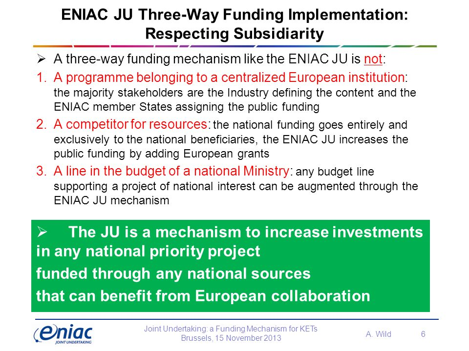ENIAC JU Three-Way Funding Implementation: Respecting Subsidiarity