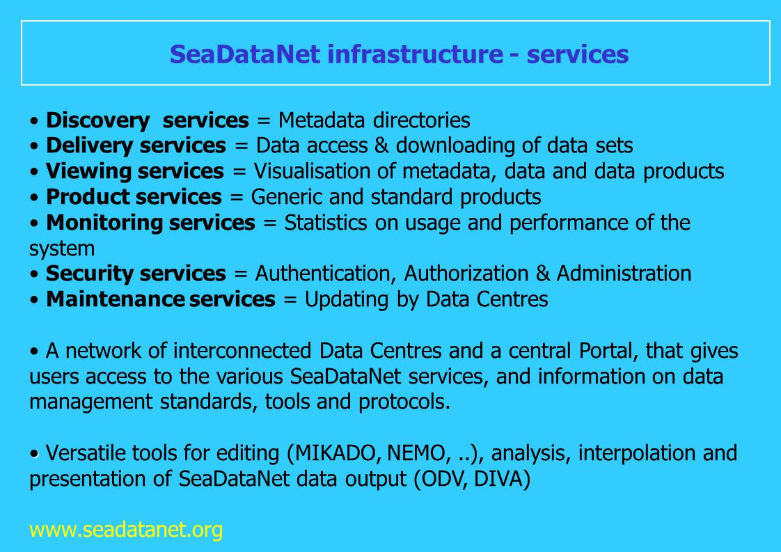 SeaDataNet infrastructure - services