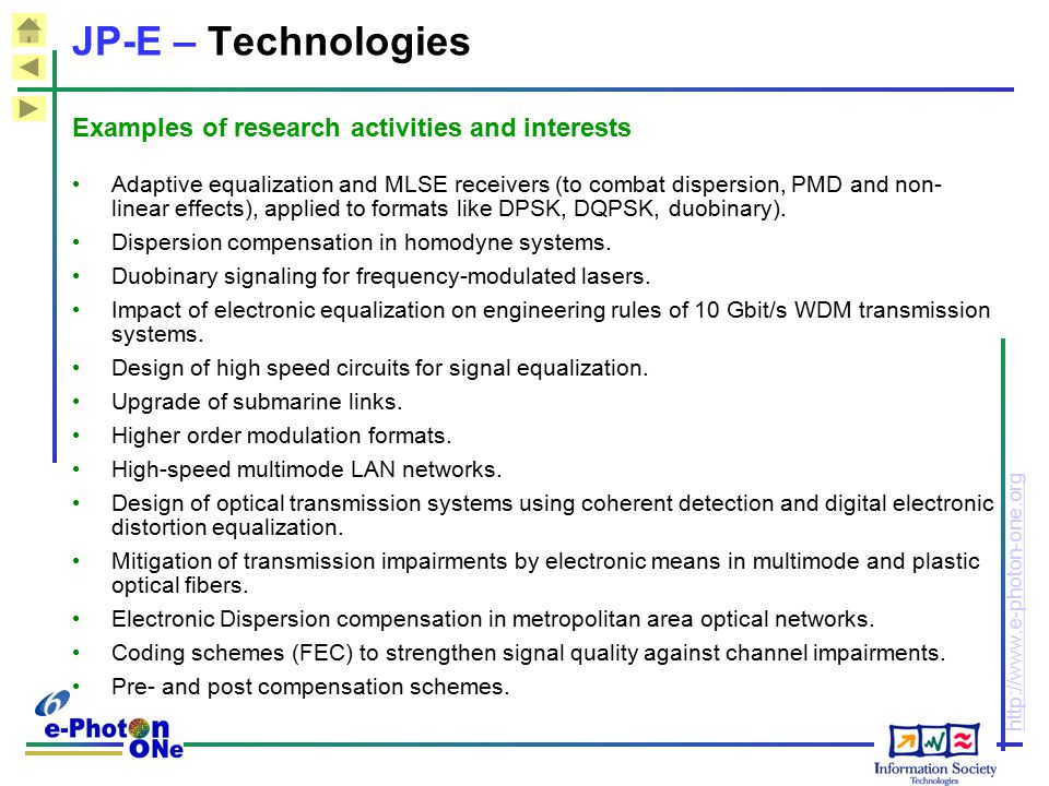JP-E – Technologies Examples of research activities and interests