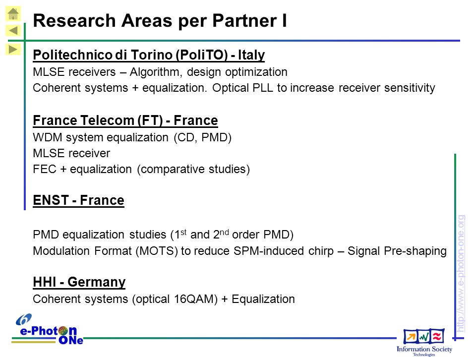 Research Areas per Partner I