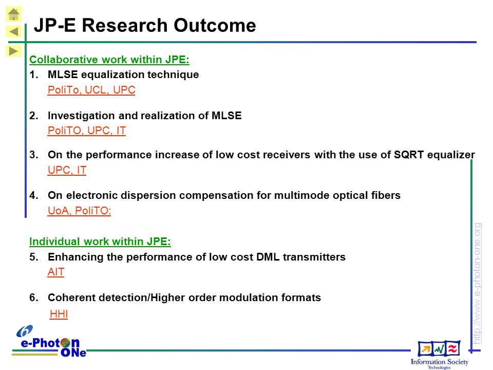 JP-E Research Outcome HHI Collaborative work within JPE: