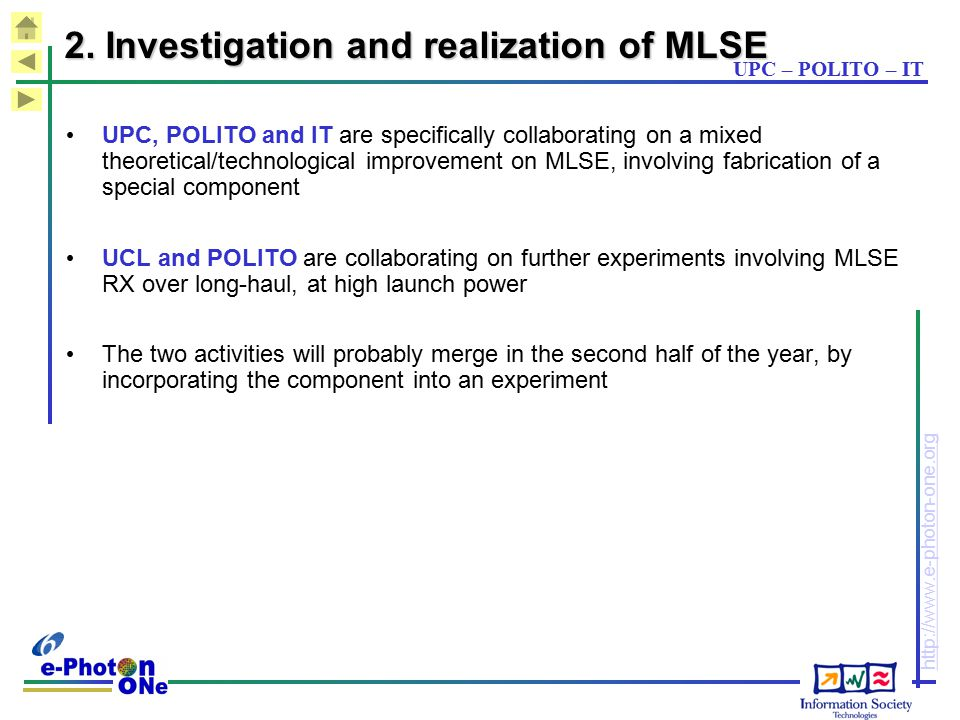 2. Investigation and realization of MLSE