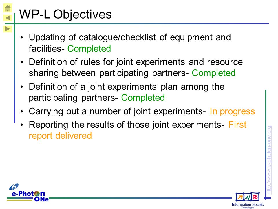 WP-L Objectives Updating of catalogue/checklist of equipment and facilities- Completed.
