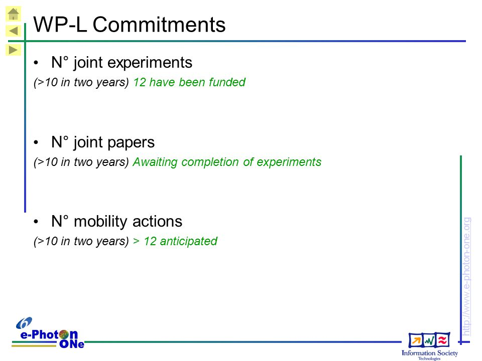 WP-L Commitments N° joint experiments N° joint papers