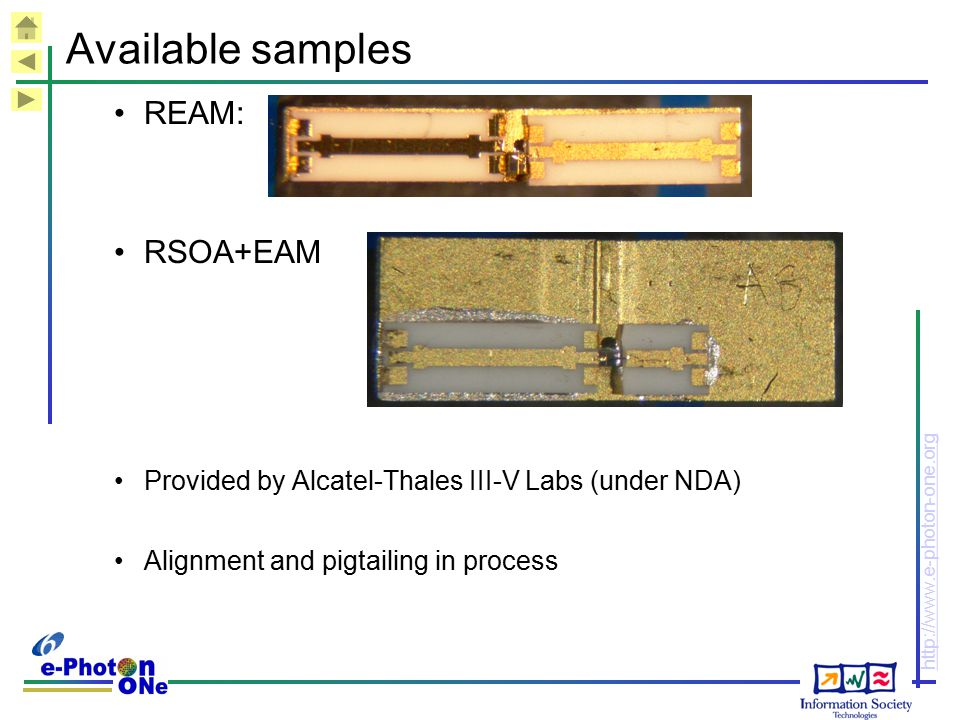 Available samples REAM: RSOA+EAM