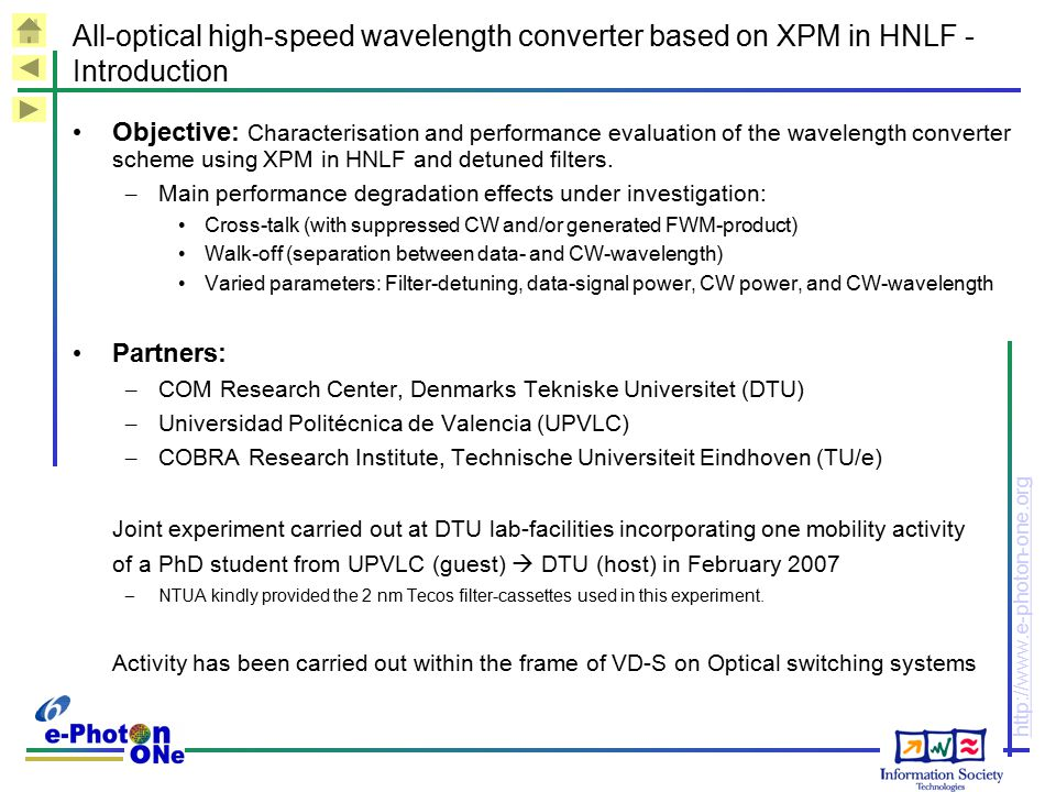 All-optical high-speed wavelength converter based on XPM in HNLF - Introduction