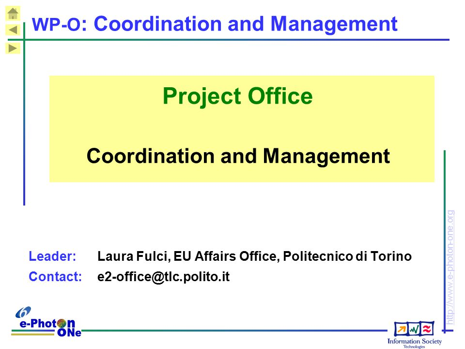 WP-O: Coordination and Management