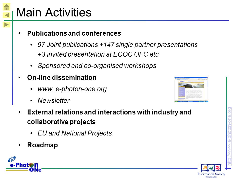 Main Activities Publications and conferences