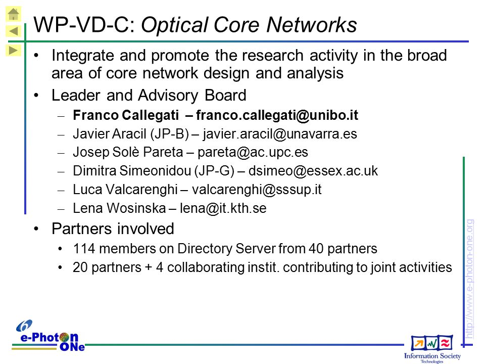 WP-VD-C: Optical Core Networks
