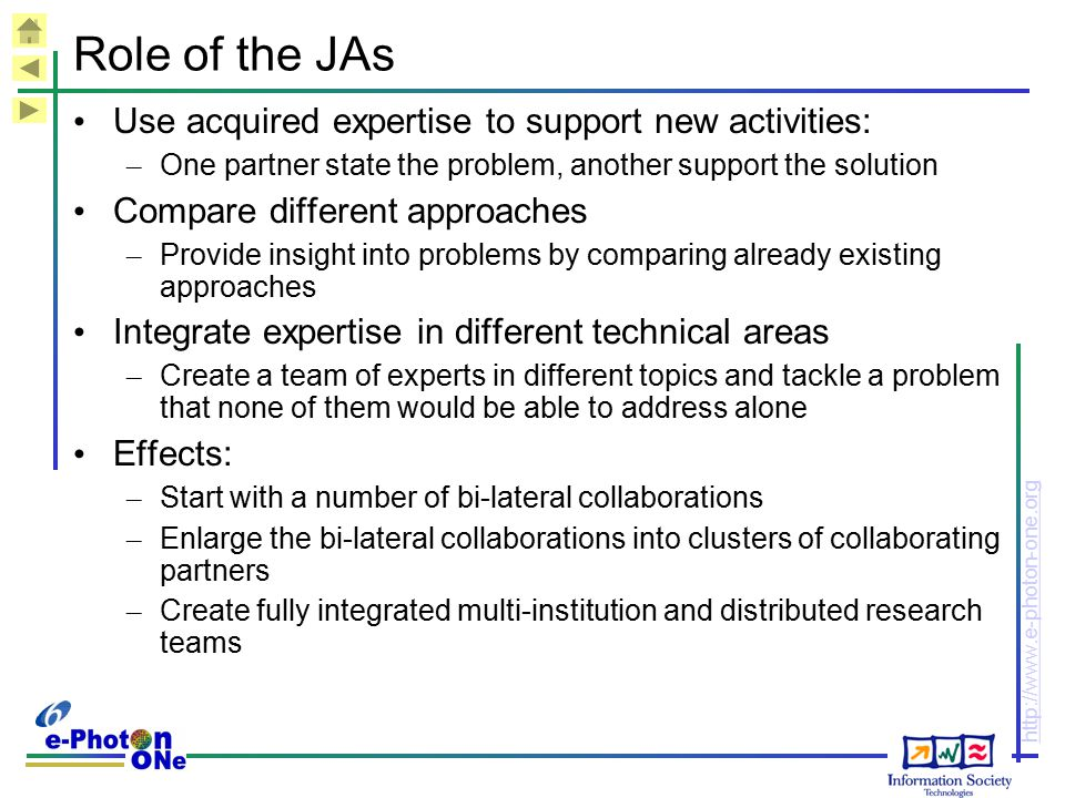 Role of the JAs Use acquired expertise to support new activities: