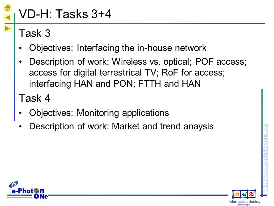 VD-H: Tasks 3+4 Task 3. Objectives: Interfacing the in-house network.
