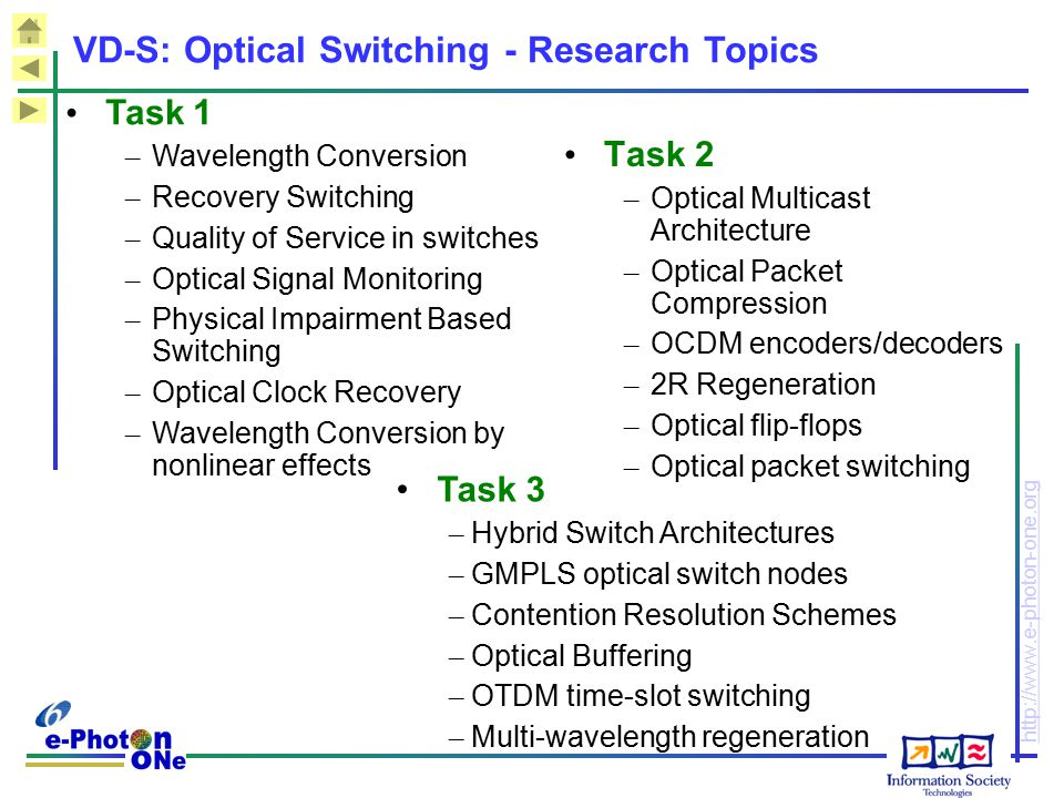 VD-S: Optical Switching - Research Topics