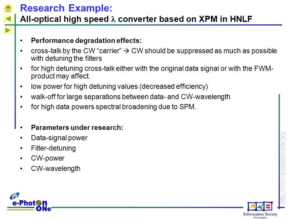 Research Example: All-optical high speed  converter based on XPM in HNLF