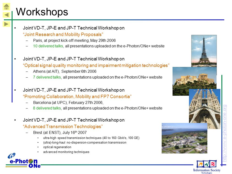 Workshops Joint VD-T, JP-E and JP-T Technical Workshop on