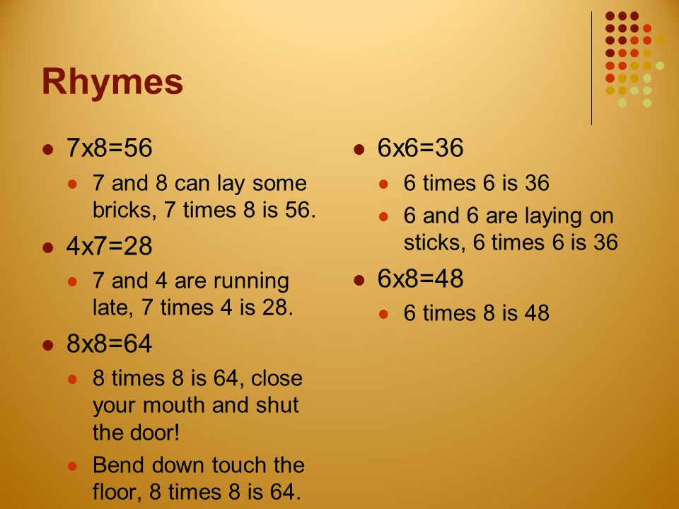 Rhymes 7x8=56. 7 and 8 can lay some bricks, 7 times 8 is 56. 4x7=28. 7 and 4 are running late, 7 times 4 is 28.