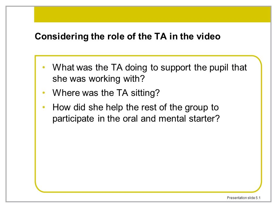 Considering the role of the TA in the video