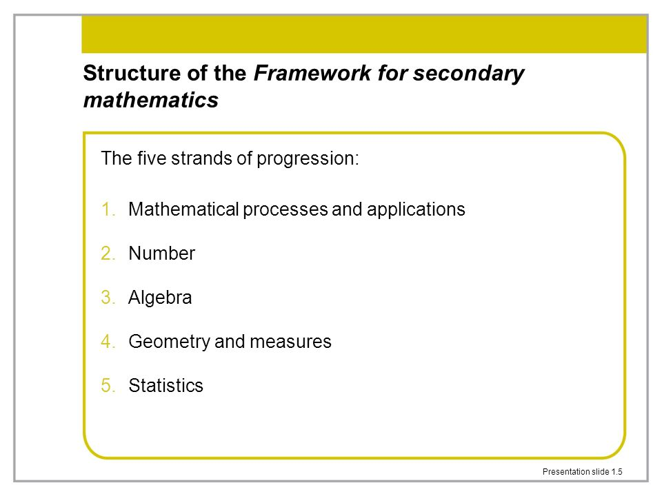 Structure of the Framework for secondary mathematics