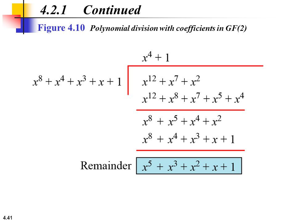 4.2.1 Continued Figure 4.10 Polynomial division with coefficients in GF(2)