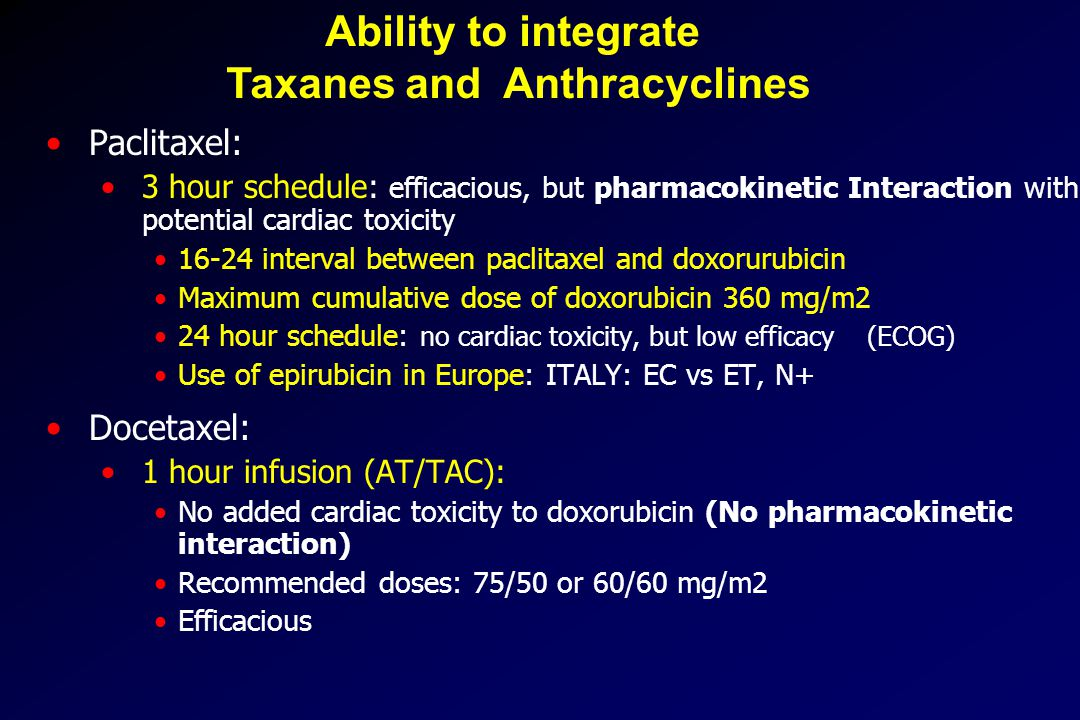 Ability to integrate Taxanes and Anthracyclines