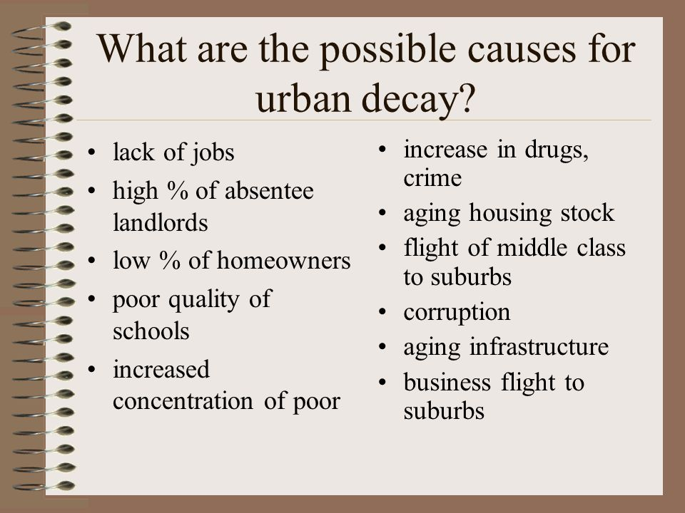 What are the possible causes for urban decay