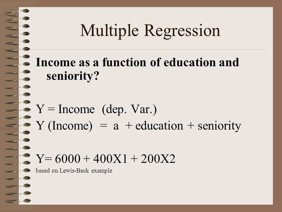 Multiple Regression Income as a function of education and seniority