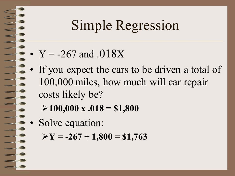 Simple Regression Y = -267 and .018X