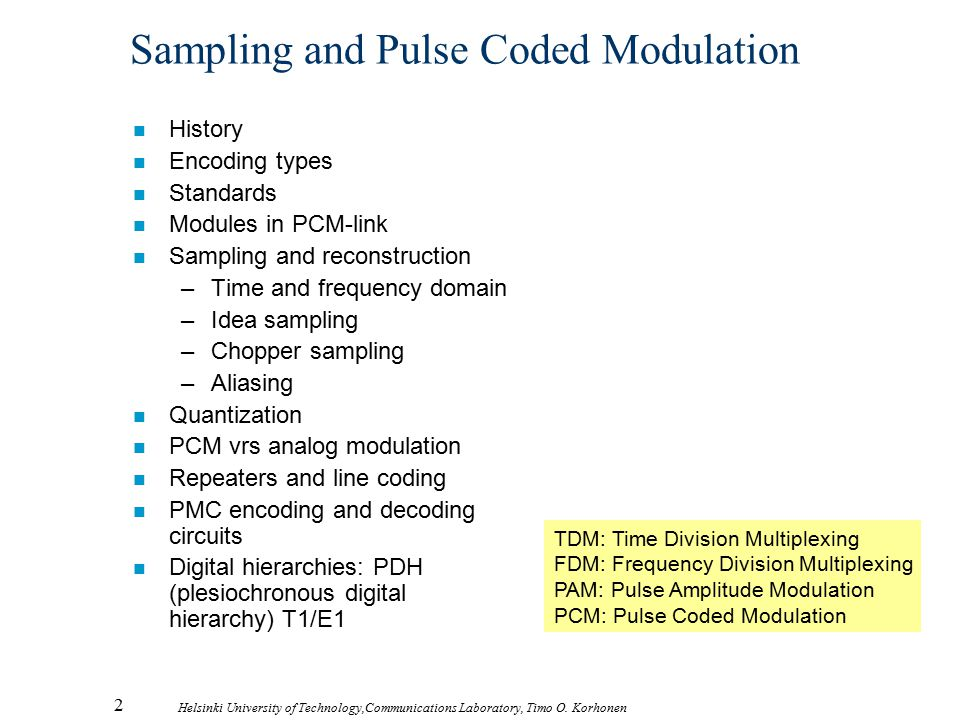 Sampling and Pulse Coded Modulation