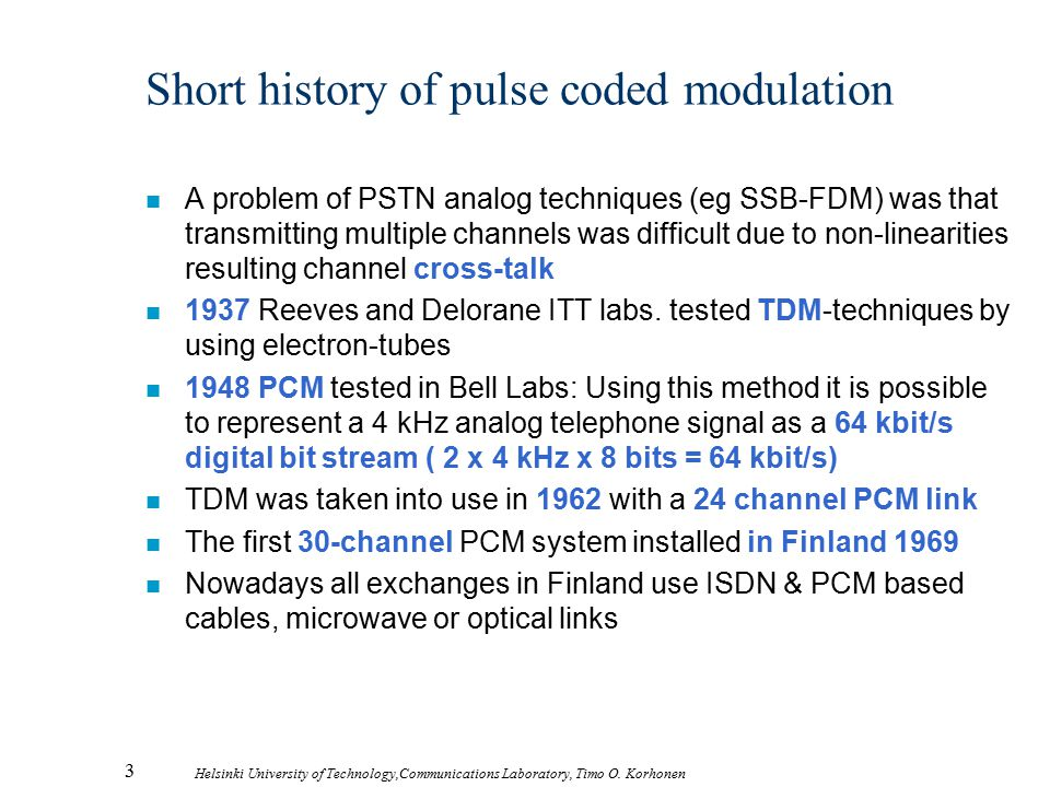 Short history of pulse coded modulation