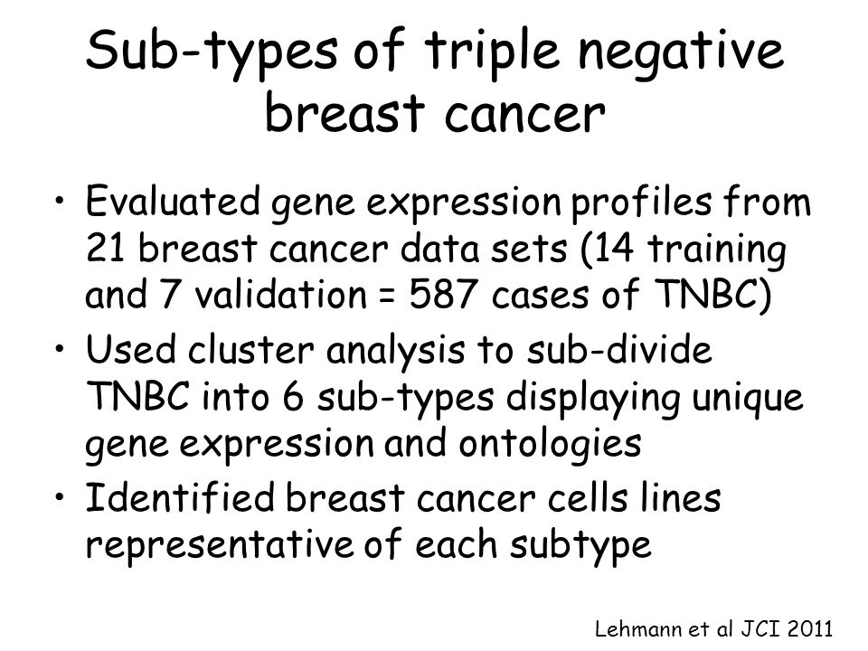Sub-types of triple negative breast cancer