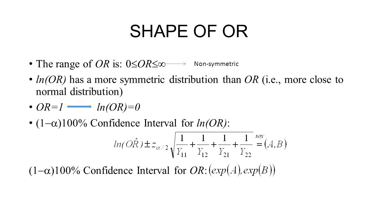 SHAPE OF OR The range of OR is: 0OR