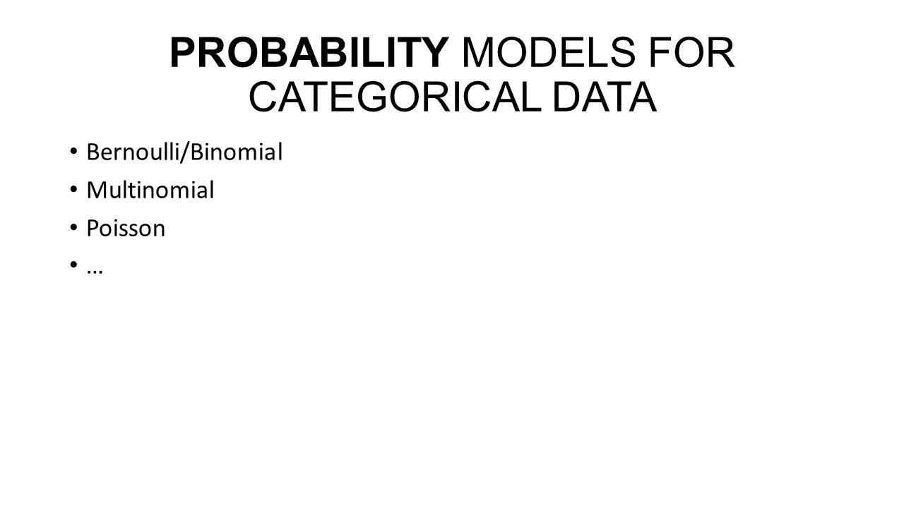 PROBABILITY MODELS FOR CATEGORICAL DATA