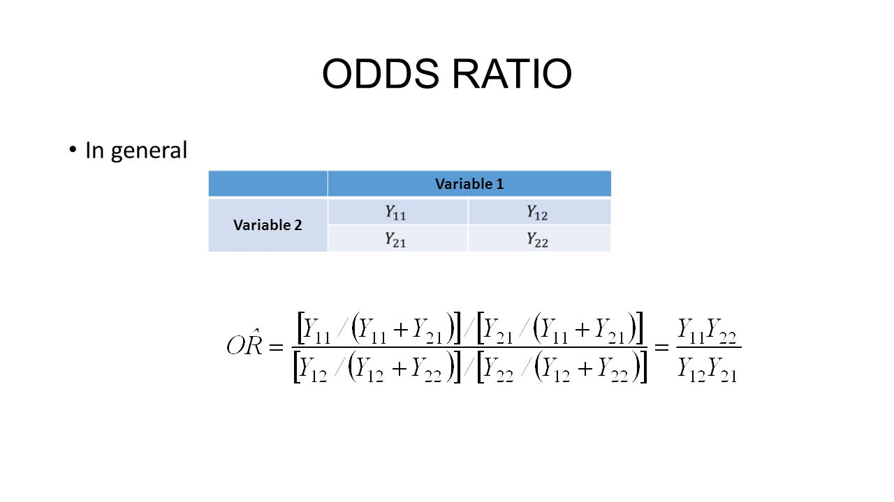 ODDS RATIO In general Variable 1 Variable 2
