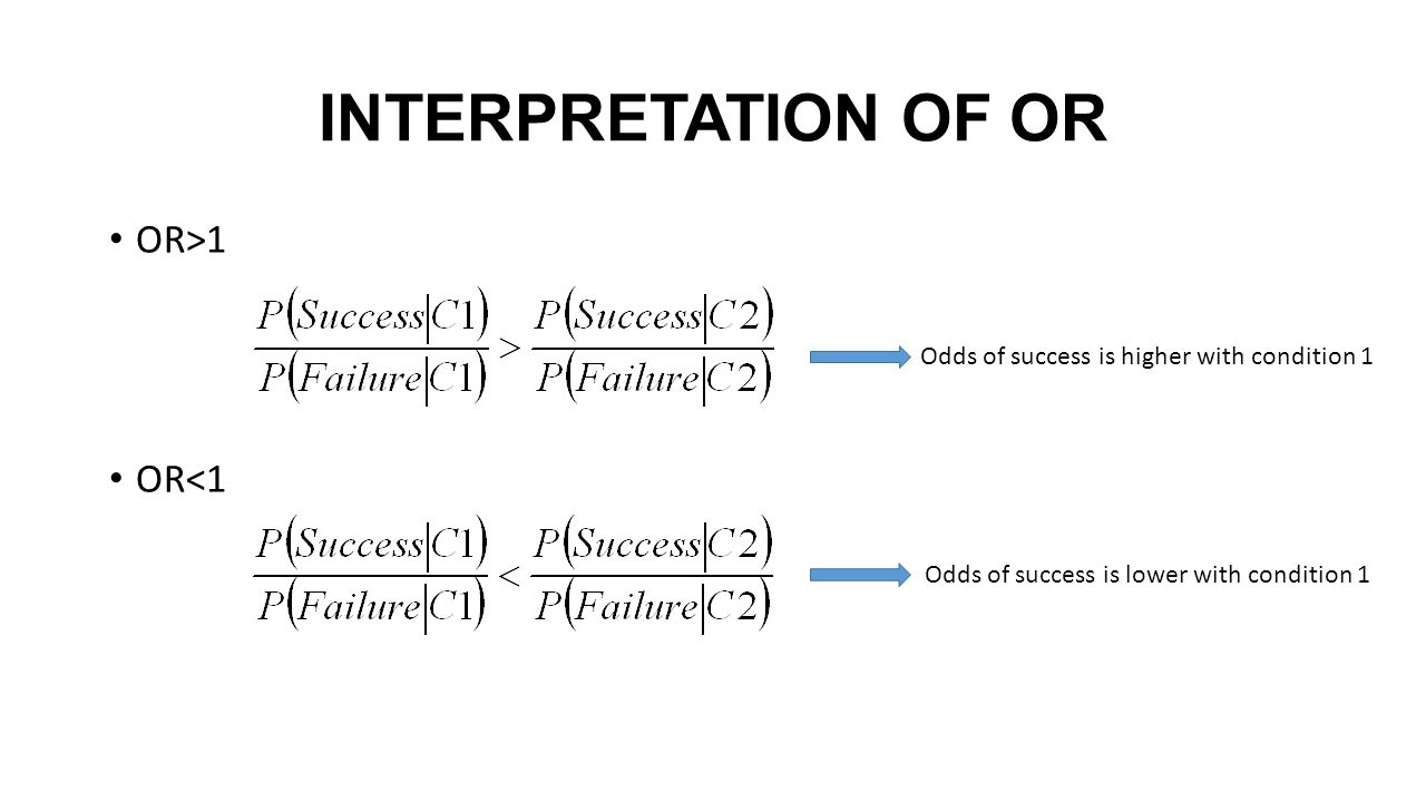 INTERPRETATION OF OR OR>1 OR<1