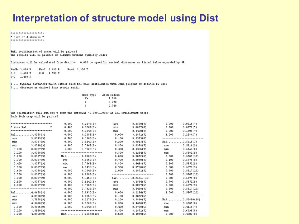 Interpretation of structure model using Dist