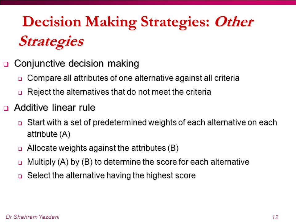 Decision Making Strategies: Other Strategies