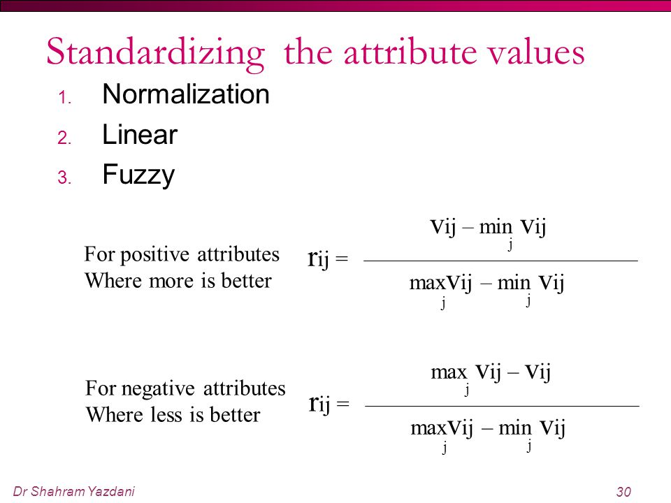 Standardizing the attribute values