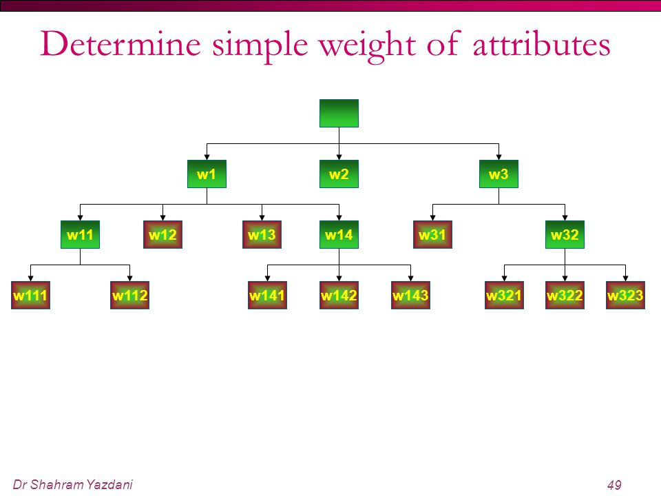Determine simple weight of attributes
