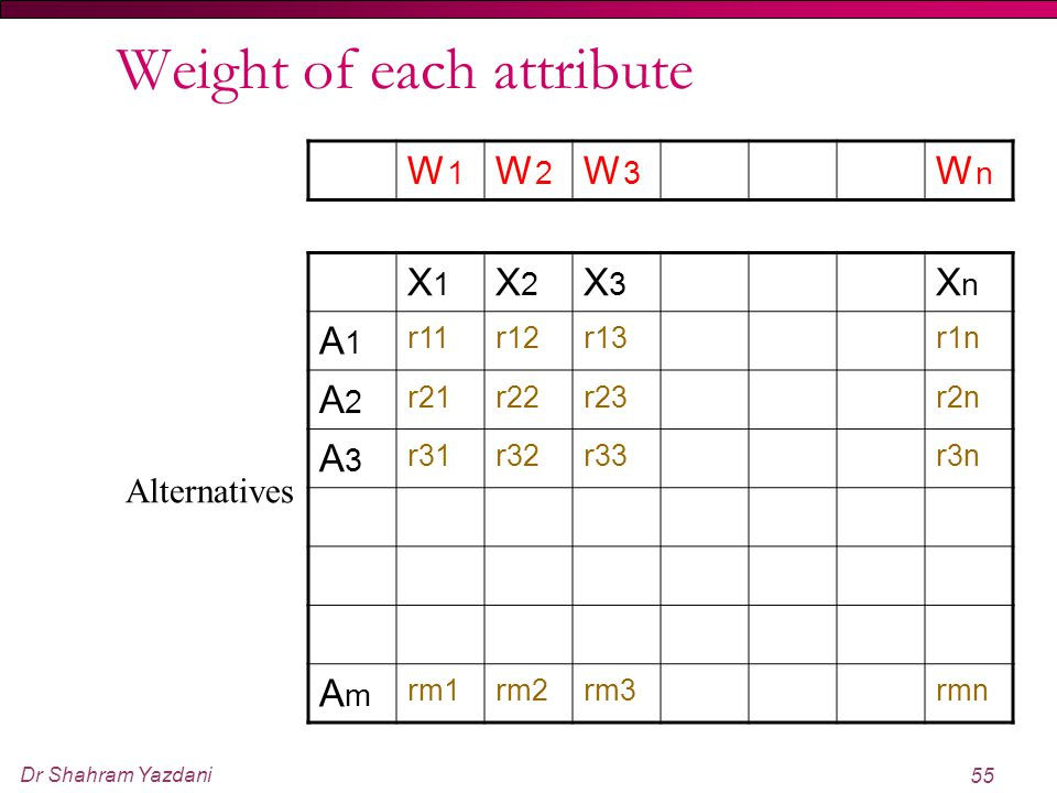 Weight of each attribute