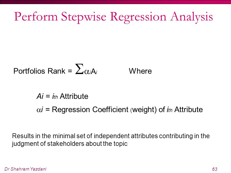 Perform Stepwise Regression Analysis