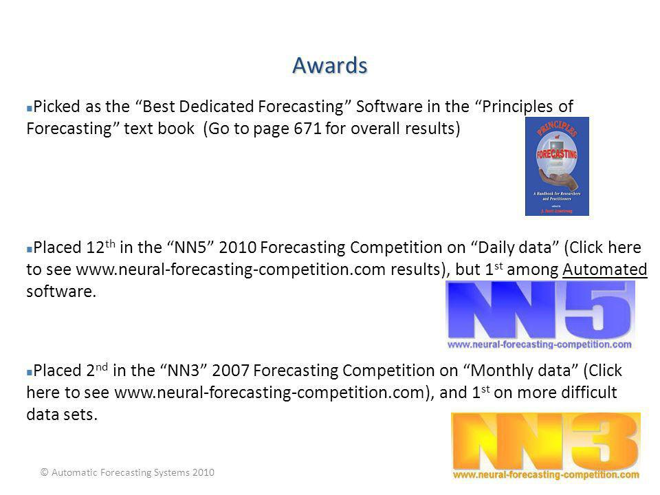 Awards Picked as the Best Dedicated Forecasting Software in the Principles of Forecasting text book (Go to page 671 for overall results)